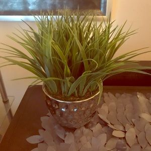 Other - Faux grass plant in silver pot.